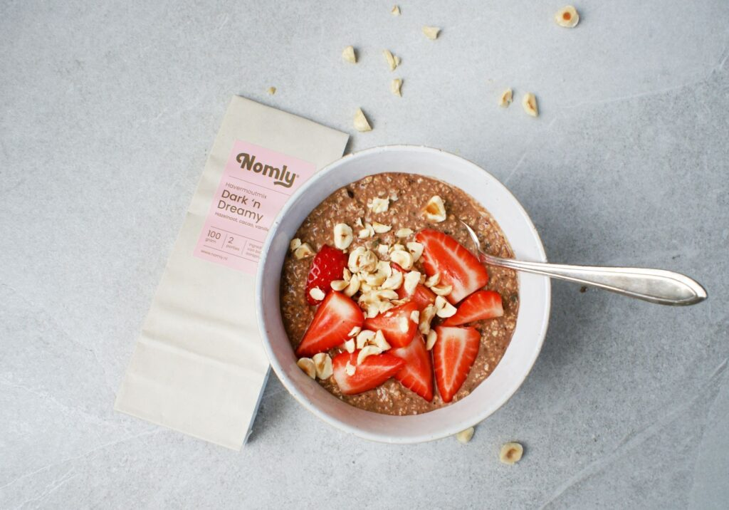 Choco overnight oats aardbei hazelnoot