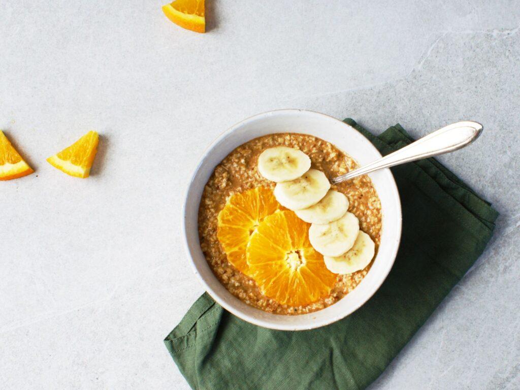 Overnight oats banaan sinaasappel